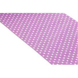 Chemin de table lilas pois blanc