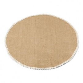 Centre de table jute & dentelle rond 50 cm