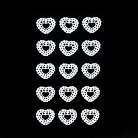 15 Coeurs dentelle blancs à coller