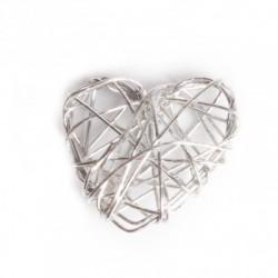 Coeur argent deco fil de fer